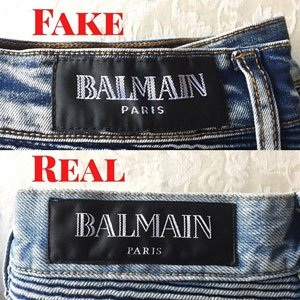 authentic balmain jeans label