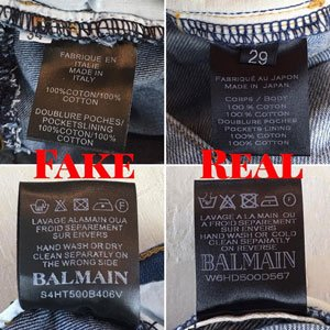 fake balmain jeans inside tag
