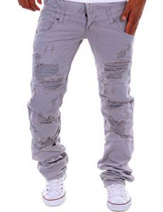 Gray Ripped Distressed Jeans