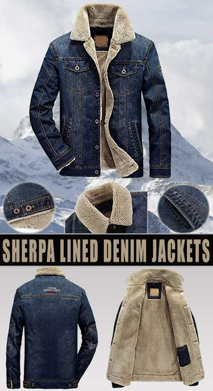 sherpa lined denim jacket mens