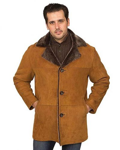 Aston Leather Men's Writer's Shearling Coat Suede
