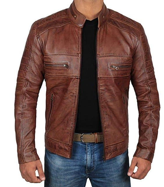 Asymmetrical Genuine Biker Leather Jackets for Men