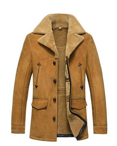 Cwmalls Men's Sheepskin Shearling Jacket Coat