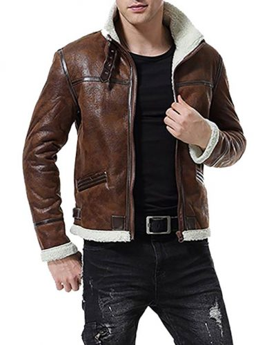 Faux Leather Shearling Jacket Suede