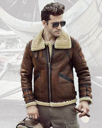 Fur Leather Shearling B3 Flight Jacket Sheepskin Aviator Coat