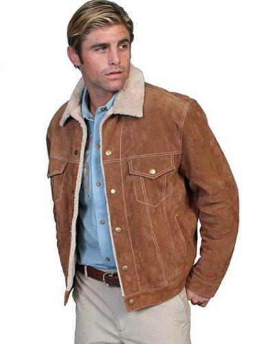 Scully Men's Sherpa Lined Boar Suede Jacket