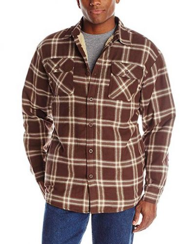 Wrangler Men's Long Sleeve Sherpa Lined Flannel Shirt Jacket