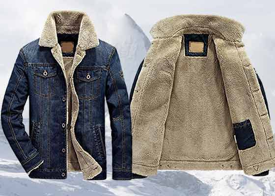 Sherpa lined denim jacket for men