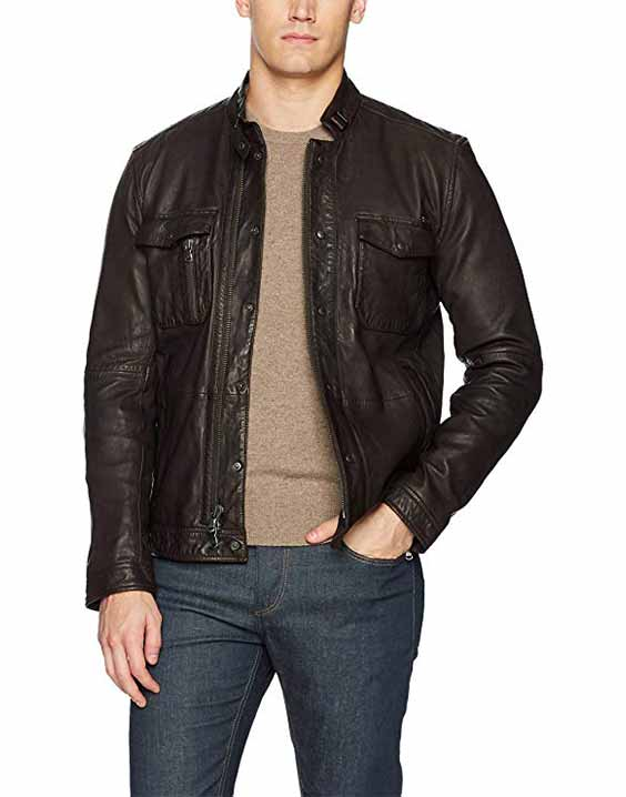 John Varvatos Mens Leather Field Jacket