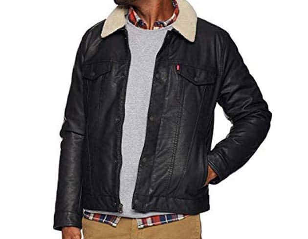LEVI'S BUFFED COW FAUX LEATHER SHERPA TRUCKER
