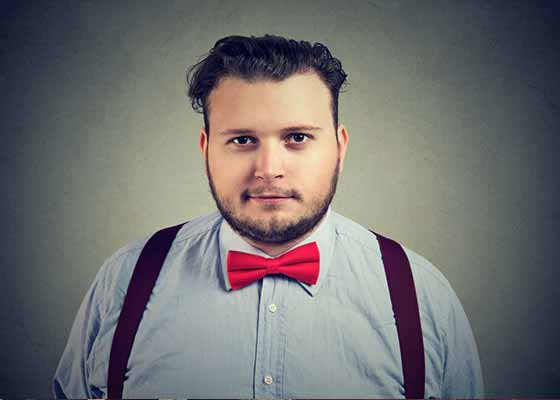 fat guy in suspenders