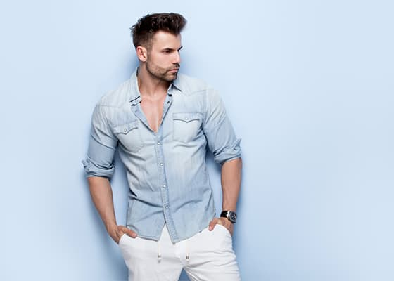 Mens Light Denim Shirts
