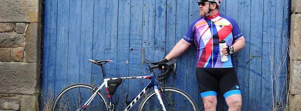 fat man in cycling jersey